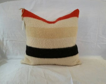 Original antique hudson bay blanket Reimagined into pillow with down insert.