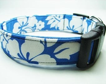 Blue Tropical Hawaiian Floral Dog Collar