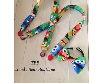 Sesame Street,Elmo, cookie monster, big bird suspenders and bow tie set.