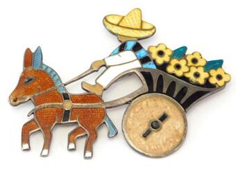 Margot De Taxco Mexican Silver Enamel Figural Brooch