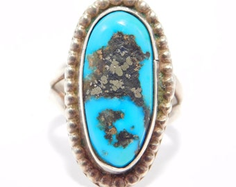 Sterling Southwest Turquoise Estate Ring Pyrite