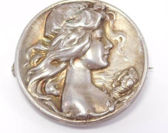 Art Nouveau Sterling Watch Pin By William Link