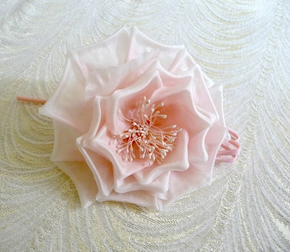 Millinery Rose With Silk Tubing Pale Pink For Weddings
