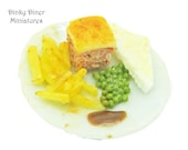 Corned Beef Pie and Chips - Miniature 1:12 Scale Food