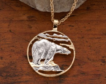 "Polar Bear Pendant & Necklace Jewelry, Hand Cut Polar Bear Medallion, 14 Karat Gold and Rhodium Plated , 1-1/4 "" in Diameter, ( # 837 )"