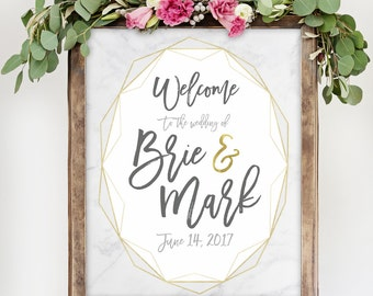 Geometric Wedding Sign with Marble and Gold for Modern Wedding Reception Signage White Marble