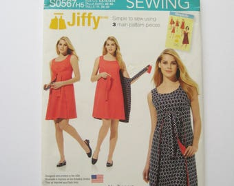 Simplicity Jiffy Sewing Pattern S0567 Wrap Dress Reversible Sleeveless Knee Length 1960's Fashion Re-release Misses Size 6 8 10 12 14 UNCUT