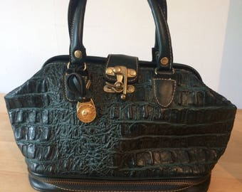 Vintage crocodile reptile look green bag