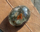 Colorful Natural Crystal Quartz with Mossy Inclusions Cabochon ,Green and Brown, Lodolite,Semiprecious, Q-Stone,20x16x10mm