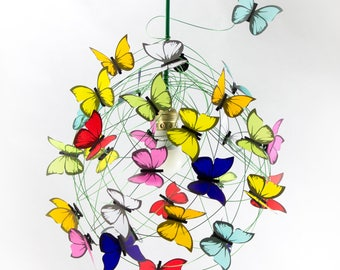 Ceiling lamp with butterflies-Handmade Wire Lamp Shade Butterfly Lamp Fairy Lamp Art Lamp Pendant Lighting Fixture Ceiling Lamp kids decor