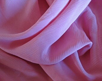 pink crepe de chine fabric, vintage French semi sheer silk material by the meter