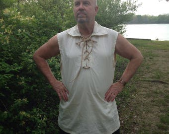 Men's Renaissance Pirate Shirt SLEEVELESS Muslin Adult Small to Xlarge Custom Made to Fit