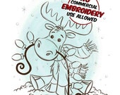 Christmas Holiday Moose with lights Digital Clip Art/ KopyKake Image