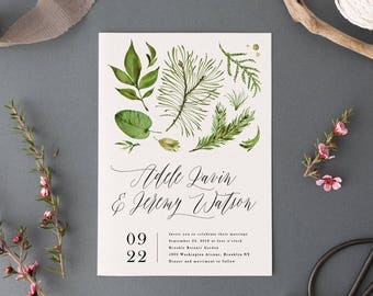 Modern Woodland Wedding Invitation Set, Printable Wedding Suite, Outdoor Forest Wedding Invites, Green Leaves, Romantic Calligraphy Theme