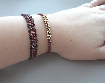Two peyote beaded striped red Frienship Bracelets - handmade by Luciana Lavin