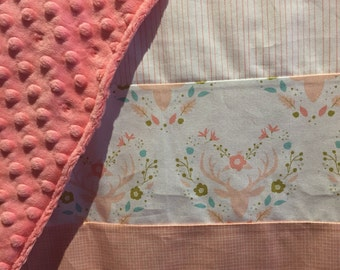 Baby blanket ,deer heads with flowers, coral
