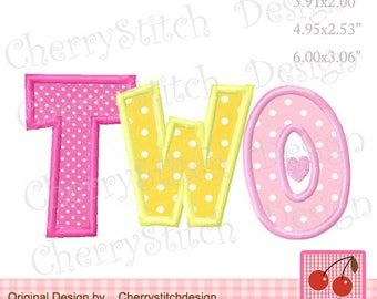 TWO Machine Embroidery Applique Design for girls