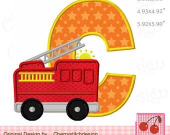 Fire Truck  Monogram C Letter C Machine Embroidery Applique Design