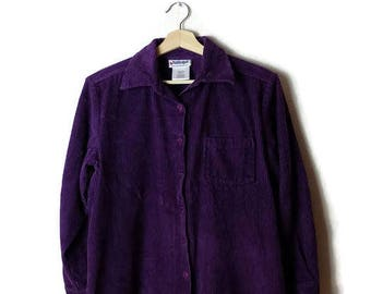 Purple Corduroy Long Sleeve Blouse from 90's*