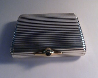 Superb antique DUNHILL Art Deco solid silver CIGARETTE CASE 950 silver and 18 carat gold gem set case  unused collector's piece