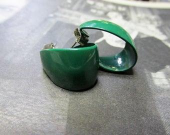 Vintage Green Enamel Hoop Earrings