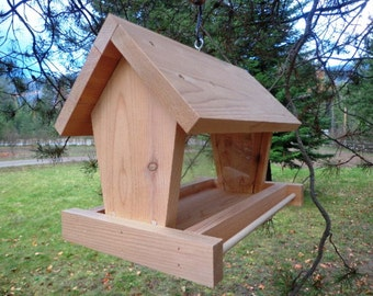 Cedar Bird Feeder - All Natural - Hand Crafted - Easy Loading - Naturally Decay Resistant