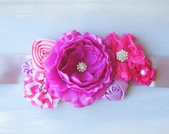 Maternity Sash, Grey, Pink, and lilac maternity photo prop. Bridal Sash