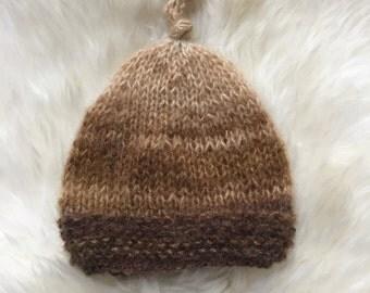 Baby boy beanie hat, Newborn boy knitted hat , Photo prop hat for baby boy