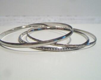 Thin Bangle Bracelets Silver Tone Costume Jewelry Accessories