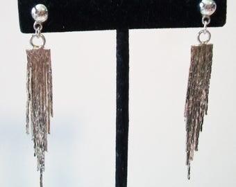 Vintage Fringe Tassel Earrings Silver Tone Chain Disco Costume Jewelry Retro