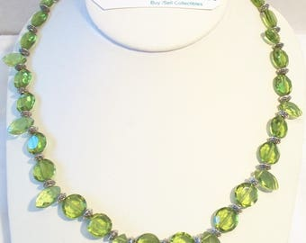 Lime Green Beaded Necklace Faceted Glass Handmade Jewelry August Birthstone