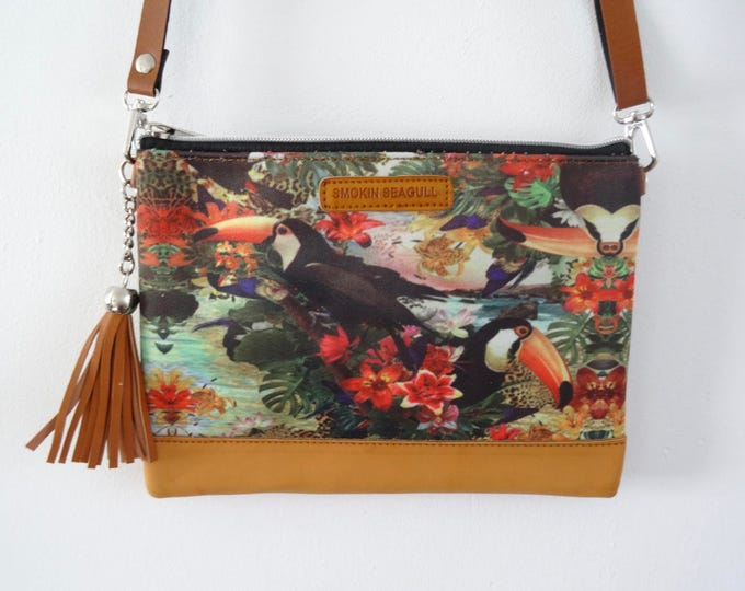 Tropical Toucan Handbag - Hibiscus Blue Summer Jungle Holiday Brown Bag