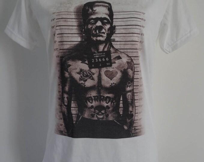 Women's Frankenstein Police Mug Shot T-Shirt - UK 12 14 16 - Tattoo Comic Book Alternative Horror