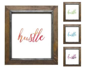 Water Color Hustle Print  - Boss Lady Print - Girlboss Printable - Office Printables - Desk Decor - Office decor - motivation wall art
