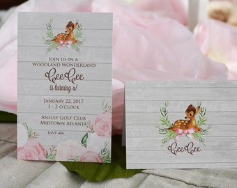 Sweet Deer Birthday Party Invitation with Envelopes, Digital Download JPG, and Note Cards