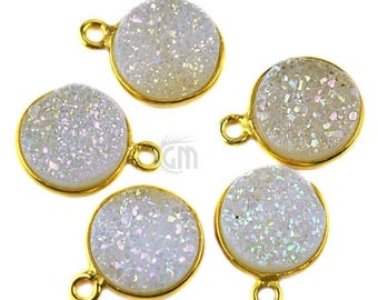 30% OFF Natural White Druzy, Bezel Round Shape Connector, 10mm Round 24K Gold Plated, Single Bail 1pc (WZ-11089)