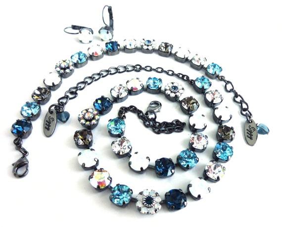 8mm Swarovski Crystal Necklace, Denim Blue, White Opal, Black Diamond, Crystal AB, Flower Elements, Moon River, Siggy Jewelry, FREE SHIPPING