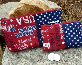 Patriotic Cosmetic Bag with matching Coin Purse, Red White & Blue Coin Purse Gift Set, American Flag Coin Purse