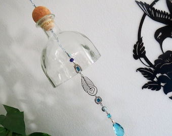 Large clear Glass bell, recycled Patron bottle, Yard Art, patio decor, sun catcher, Gift Idea