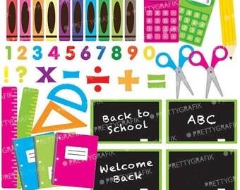 80% OFF SALE School supplies clipart commercial use, vector graphics, digital clip art, digital images  - CL549