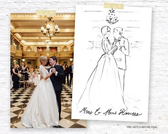 PREORDER: Wedding Custom Art Illustration, Couple Illustration, Portrait Drawing, Engagement Gift