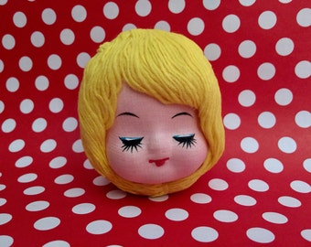 Vintage Mod Doll Head, Yarn Hair Craft Doll, Pose Doll, Craft Supply, Doll Making