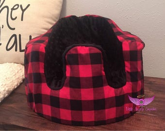 Red Buffalo Plaid and Black Minky Bumbo Seat Cover