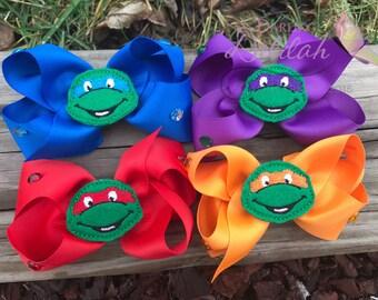 Ninja Turtle Hair Bows Set