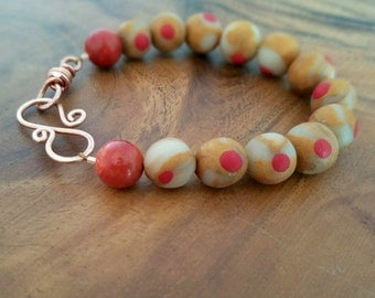 Polymer Clay, Coral & Copper Bracelet