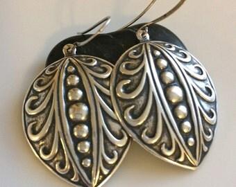 Oxidized Silver Earrings  Embossed Oxidized Earrings  Long Dangle Earrings  Boho Earrings  Gypsy Dangles