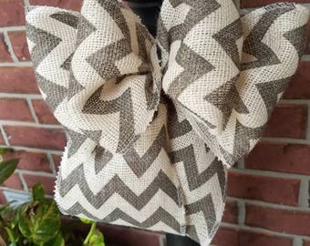 Burlap Gray chevron bow multi purpose bow for lantern/gift/mailbox/wreath/party