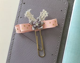 Pink and Gold Ribbon Bow Paper Clip/ planner accessory