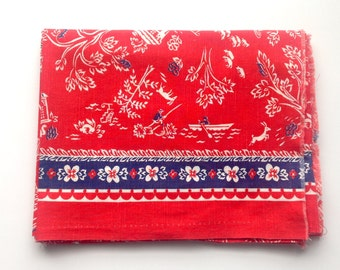 Feedsack Border Print Red and Blue Cotton Opened Full