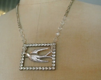 Rhinestone Belt Buckle Necklace, Antique Silver Sparrow Necklace, UPcycled, Repurposed Belt Buckle,Eclectic, One of a Kind By UPcycled Works